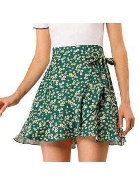 Women's Ditsy Floral Print Faux Wrap Ruffle Hem Skirt L Dark Green