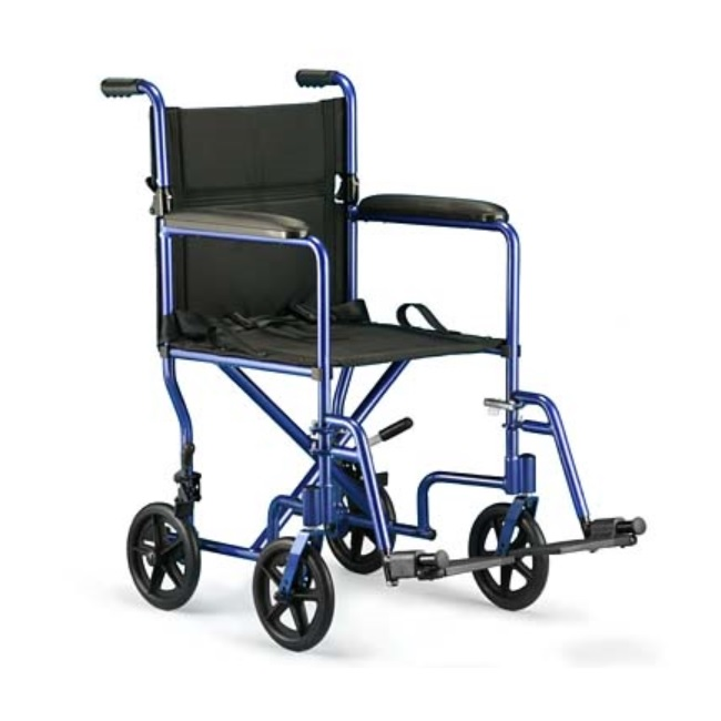 """ProBasic Steel Transport Wheelchair with 19"""" Wide Seat, Blue"""