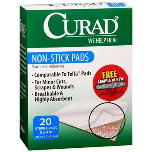 Curad Non-Stick Pads 3 Inches X 4 Inches 20 Each (Pack of 4)