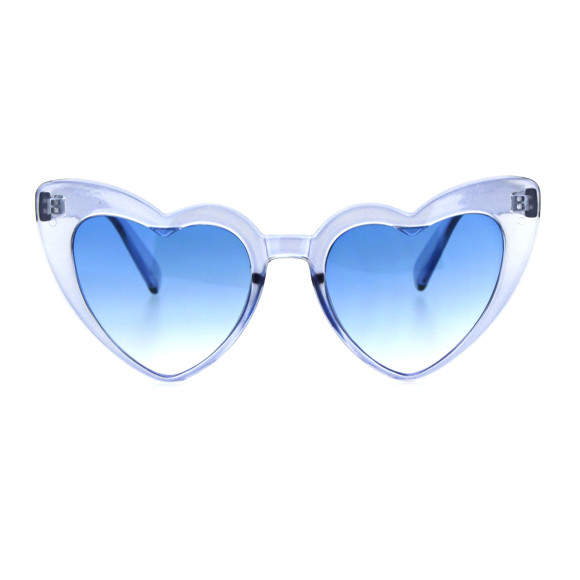 Womens Translucent Heart Shape Valentines Plastic Cat Eye Sunglasses