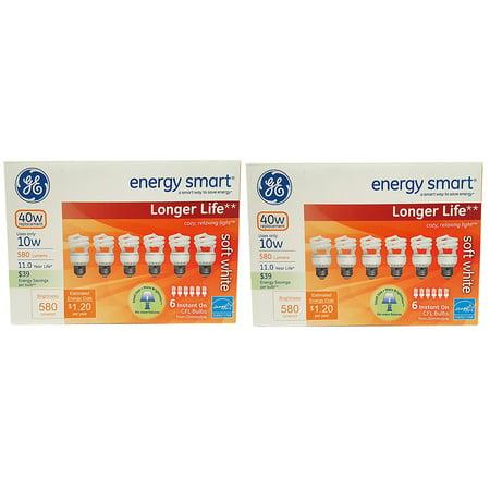 Set of 12 GE Lighting 68510 Energy Smart CFL Bulbs - 10-Watt (40-Watt Replacement) - 11 Years of Life - 580 Lumen - Soft White with Medium Base