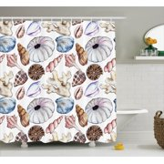 Seashells Decor Shower Curtain Set, Seashell Clam Coral Watercolor Urchin Sealife Reef Creative Warm Weather