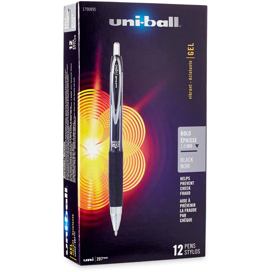 Uni-ball Signo Gel 207 Roller Ball Retractable Gel Pen, Black Ink, Medium, 12pc