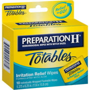 Preparation H (10 Count) Flushable Medicated Hemorrhoid Wipes, Maximum Strength Relief with Witch Hazel, Irritation Relief Wipes to Go