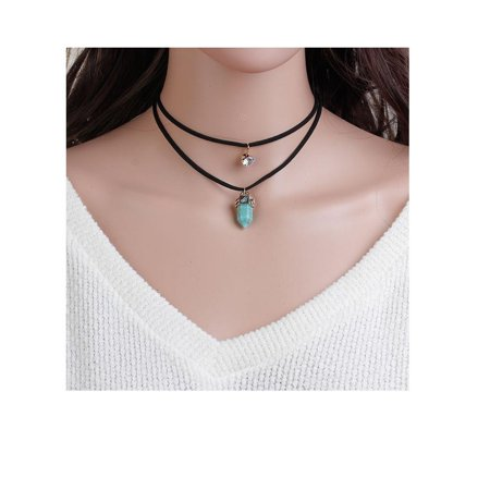 Sexy Sparkles Suede Velvet Chakra Double Layer Choker Necklace for Women Girls Gothic