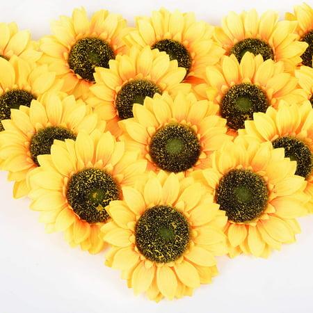 Coolmade 12 Pcs Artificial Silk Sunflower Heads, Fake Sunflower 6.2