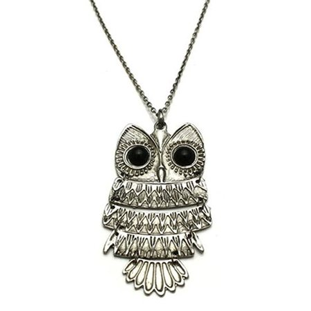 Vintage Large Owl pendant necklace - Standing Owl Pendant