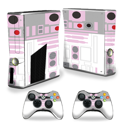 MightySkins Protective Vinyl Skin Decal for Xbox 360 S Slim + 2 controllers Case wrap cover sticker skins Pink Cyber Bot