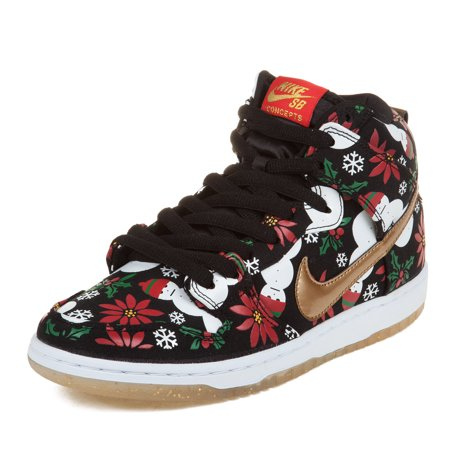 "Nike Mens Dunk High SB PRM CNCPTS ""Ugly Sweater Package"" Black Gold 635525-006 by"
