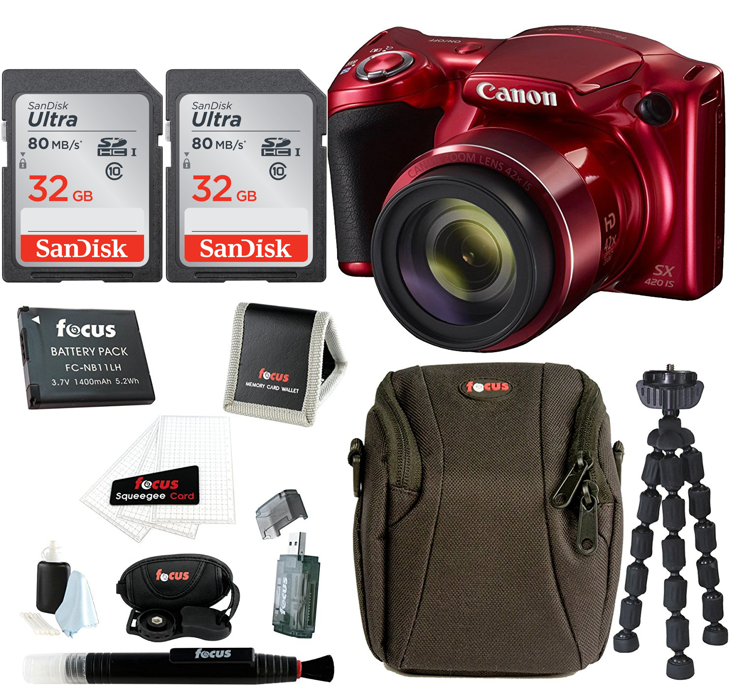 Canon PowerShot SX420 Digital Camera (Red) + Two 32GB SD Cards + Accessory Bundle