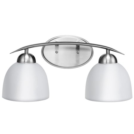 Costway 2-Light Vanity Light Nickel Finish With Glass Shade Bathroom Fixture UL - Textured Glass Vanity Light