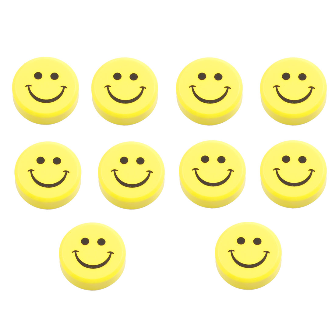 "10 x 1.2"" Dia Smile Face Pattern Yellow Shell Fridge Magnets Home Decor"