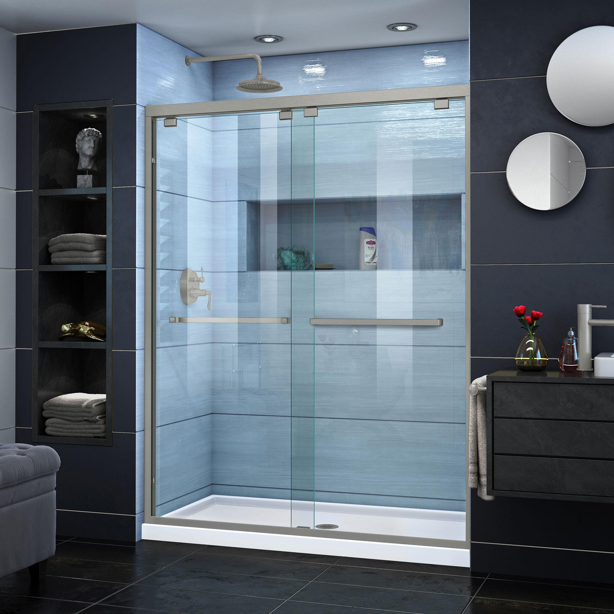 DreamLine Encore 56-60 in. W x 76 in. H Semi-Frameless Bypass Shower Door in Brushed Nickel