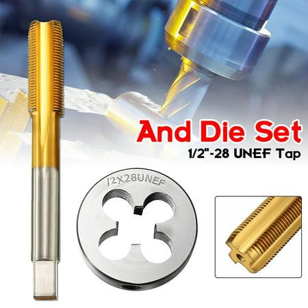 """1/2""""-28 UNEF Tap & Die Set Titanium Coated Right Hand Thread Tap Cutting Tool"""