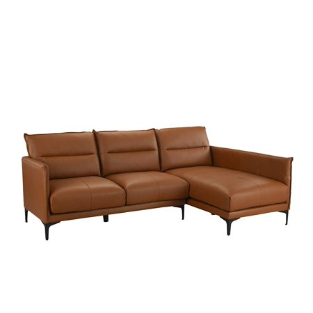 Mid Century Leather Sectional Sofa, L-Shape Couch (Camel)