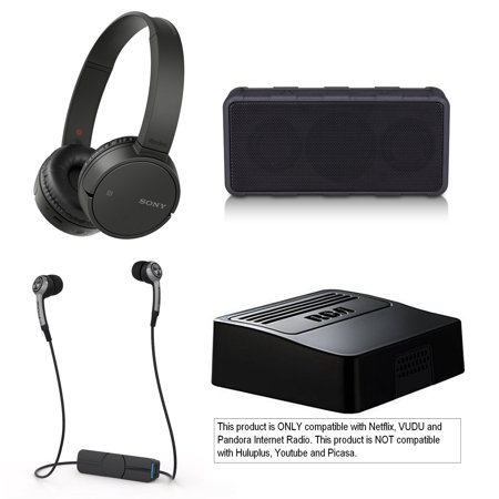 Tech & Gadget Electronics Gift Box Audio TV Video Bundle Holiday Christmas - Sonyy Bluetooth Headphones + Wireless Speaker + Netflix Player, Earbuds for iPhone & Android (Open Box - Like New) ()