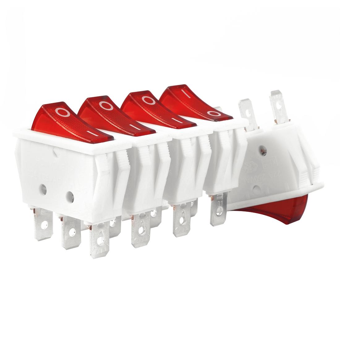 5Pcs 20A/125V 22A/250V SPST 3P 2 Position Red Light Boat Rocker Switch UL Listed - image 3 of 4