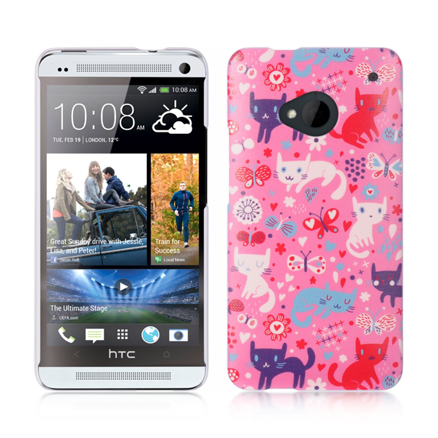 Insten Hard Rubber Case For HTC One M7 - Pink/White