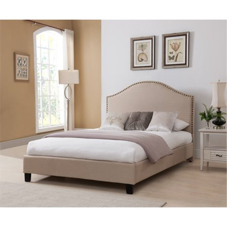 Boraam Beige Upholstered Nail Head Bed, King