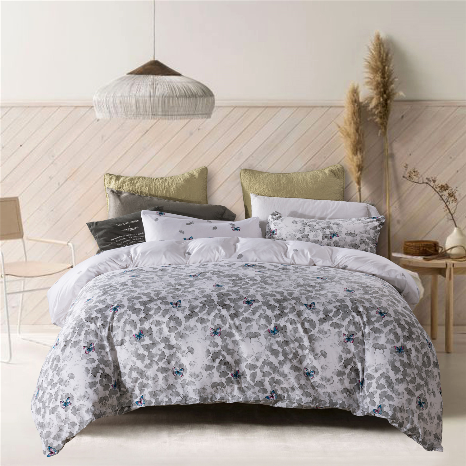 Floral Ink Wash Style Duvet Cover Set Microfiber Botanical Purple Butterflies And Gray Ginkgo Leaves Printed On White Walmart Canada