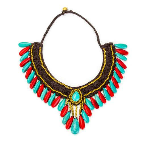 Wink International Thai-handicraft Red Coral Turquoise and Brass 'Red Princess' Necklace (Thailand) by Overstock