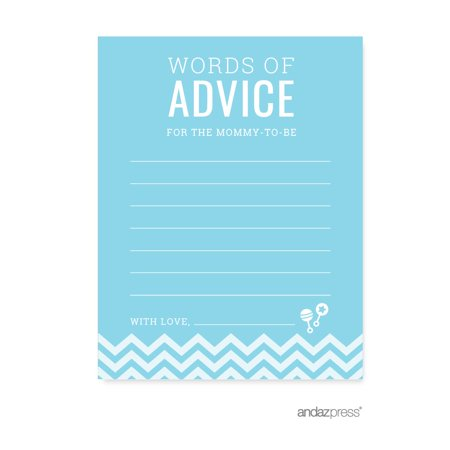 Advice Cards Baby Blue Chevron Baby Shower Games, 20-Pack