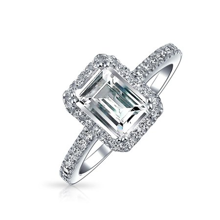 671c9833a 2 CT Emerald Cut Cubic Zirconia Thin Pave Band Halo CZ Deco Style 925 Sterling  Silver Engagement Promise Ring For Women