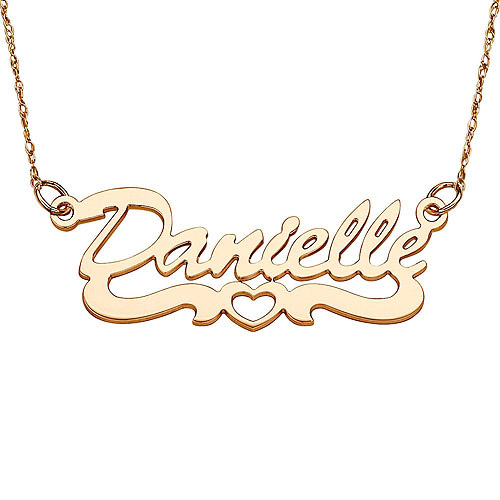 "Personalized Women's 10kt Gold Script Open Heart Tail Name Pendant, 18"""