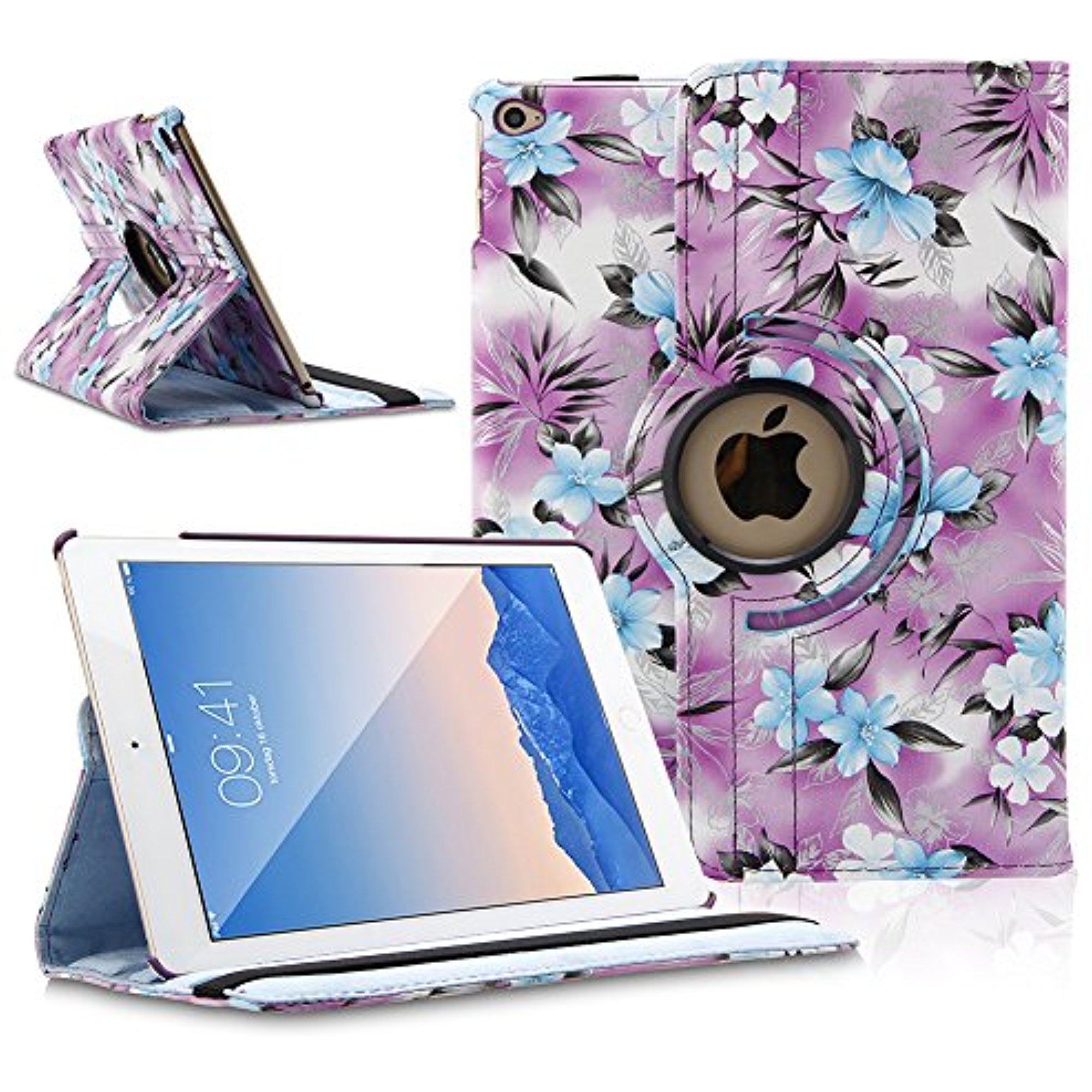 TOPCHANCES 360 Degrees Rotating PU Leather Case Smart Cover Stand for iPad mini mini2 mini3 with Stylus Pen Support Auto Wake & Sleep Function (Purple Camellia)