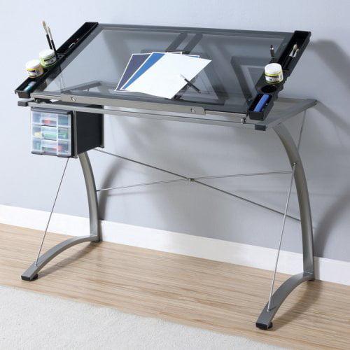 Monarch Champagne Metal Adjustable Tilt Top Drafting Desk