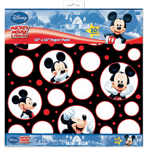 EK Success Mickey Mouse Black/White/Red Paper Pack, 10 Sheets, 2 Each/5 Textured Papers Multi-Colored