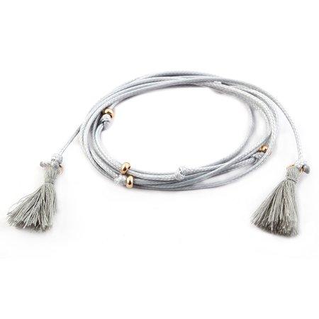 Women Lady Nylon Tassel Decor Adjustable Choker Necklace DIY Neck Chain Gray