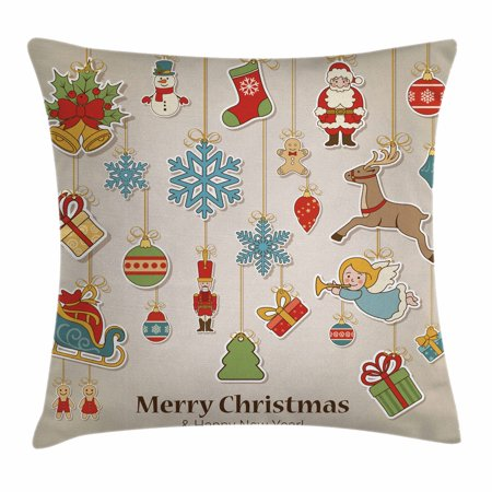 Christmas Throw Pillow Cushion Cover, Xmas Winter Holiday Themed Icons Celebratory Objects Retro Graphic Collection, Decorative Square Accent Pillow Case, 18 X 18 Inches, Multicolor, by Ambesonne](Winter Holiday Themes)