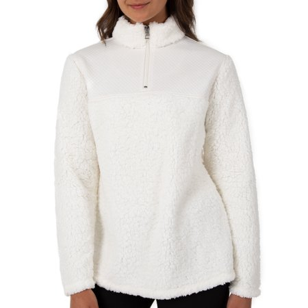 Athletic Works Womens Super Plush 1/4 Zip Pullover With Quilted Yoke
