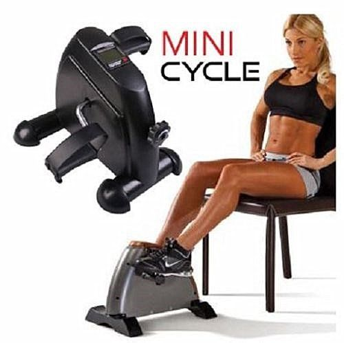 Portable Exerciser Cycling Fitness Mini Pedal Exercise Bike Low Impact LCD Display Small Exercise Bike for Under Your Office Desk Designed for Body Exerciser Either Hands or Feet,Black
