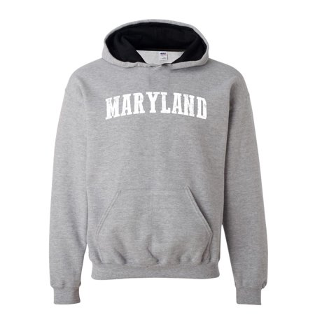 J_H_I MD Maryland Map Baltimore Flag Terrapins Terps Home University of Maryland  Unisex Hoodies Conrast Color