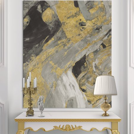- DESIGN ART Designart 'Marble Gold and Black' Modern & Contemporary Canvas Artwork - Grey