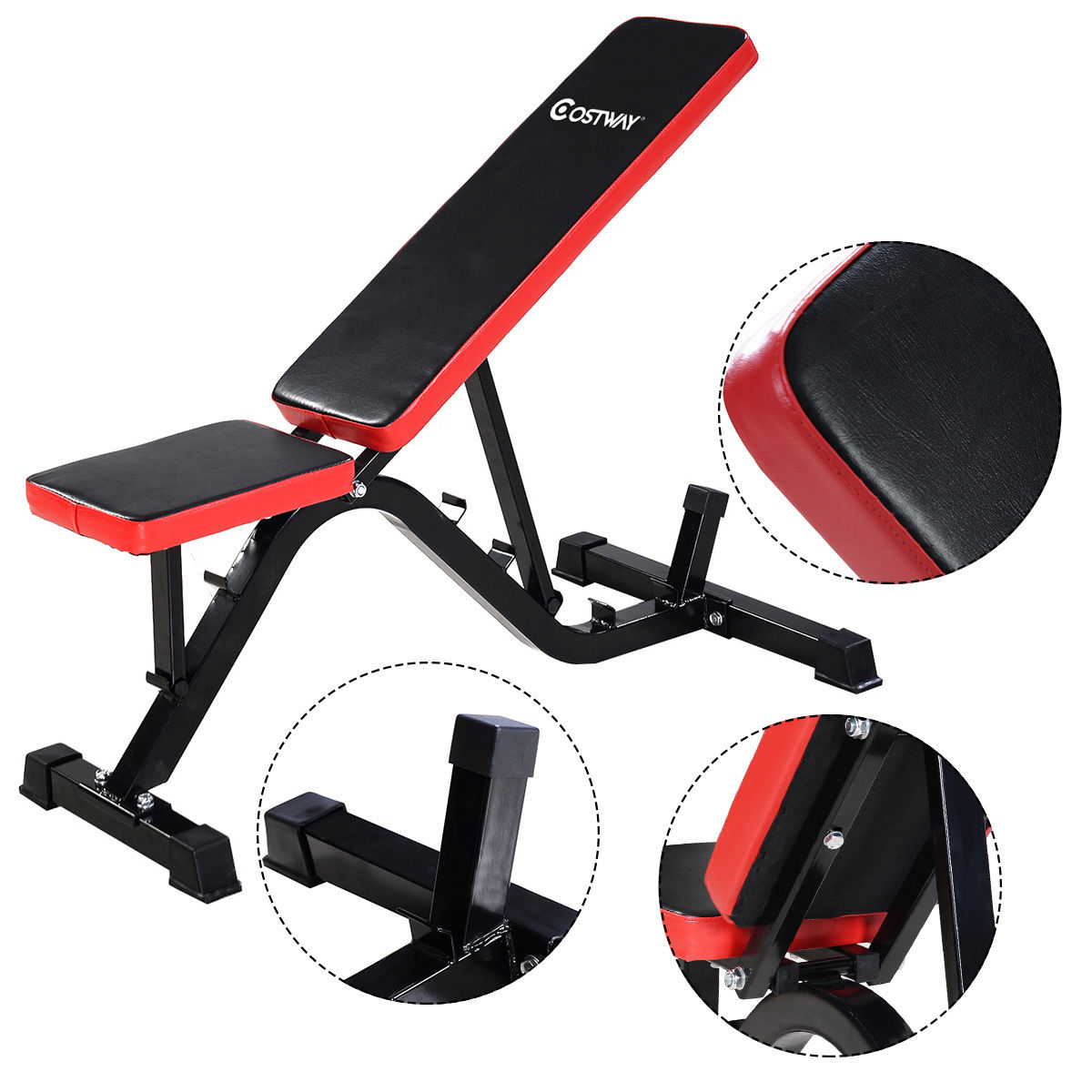 Costway Adjustable Sit Up AB Incline Abs Bench Flat Fly Weight Press Gym Red