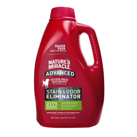 Nature's Miracle Advanced Stain & Odor Eliminator, 128 fl oz, Fresh Scent, Severe Mess Enzymatic Formula for Tough Pet Messes At A-glance Pen