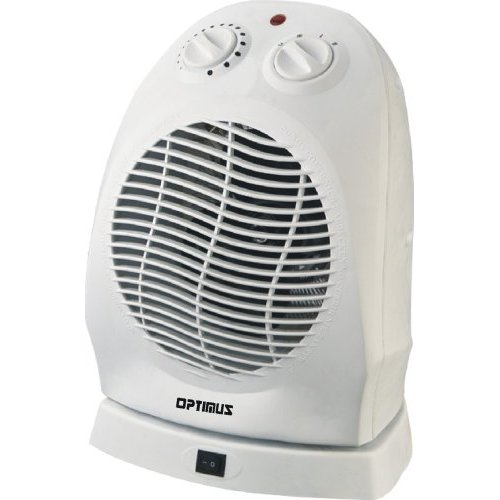 Optimus H-1382 Portable Oscillating Fan Heater With Thermostat (h1382)
