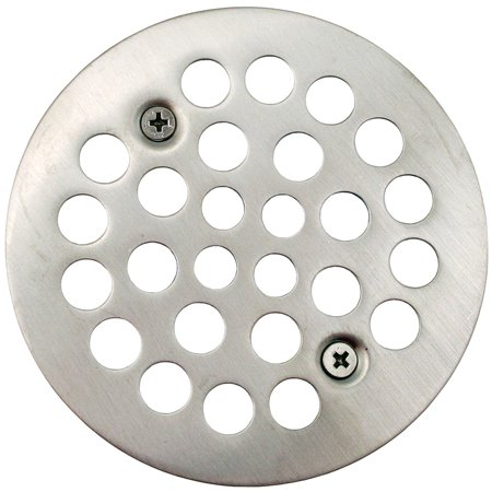 "Brushed Nickel 4-1/4"" Strainer with Screws for Fiberglass Shower Stall,PartNo D4"