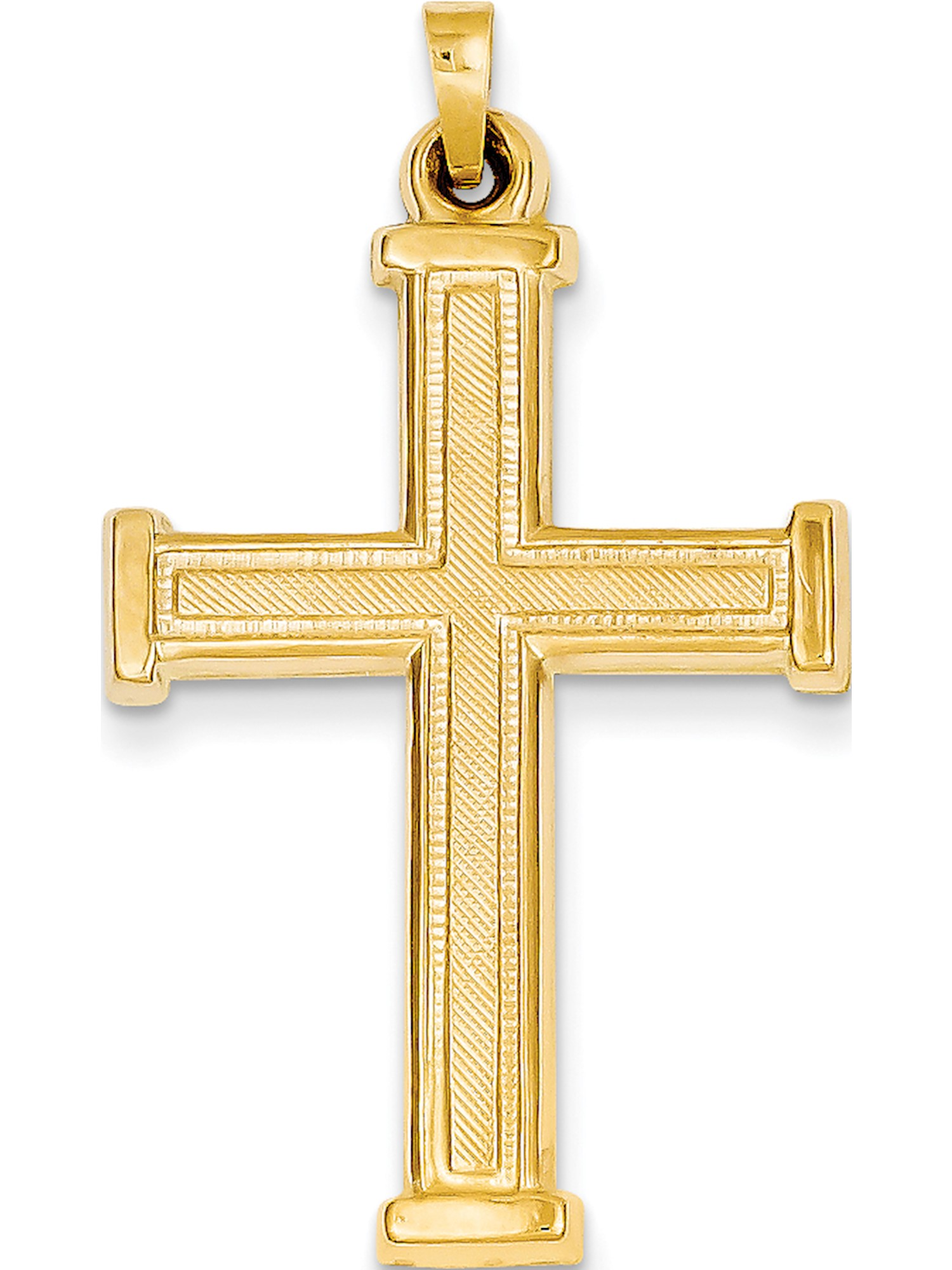 Details about  /14k Yellow Gold Polished And Textured Border Latin Cross Charm Pendant