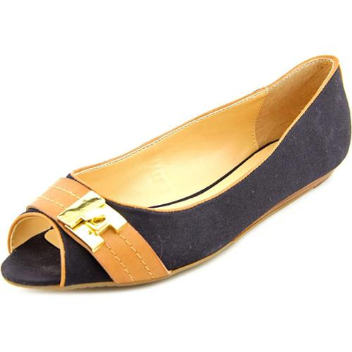 Tommy Hilfiger Ilani Women US 6 Black Peep Toe Flats
