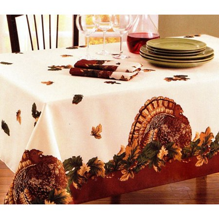 Harvest Holiday Turkey Fabric Tablecloth Thanksgiving