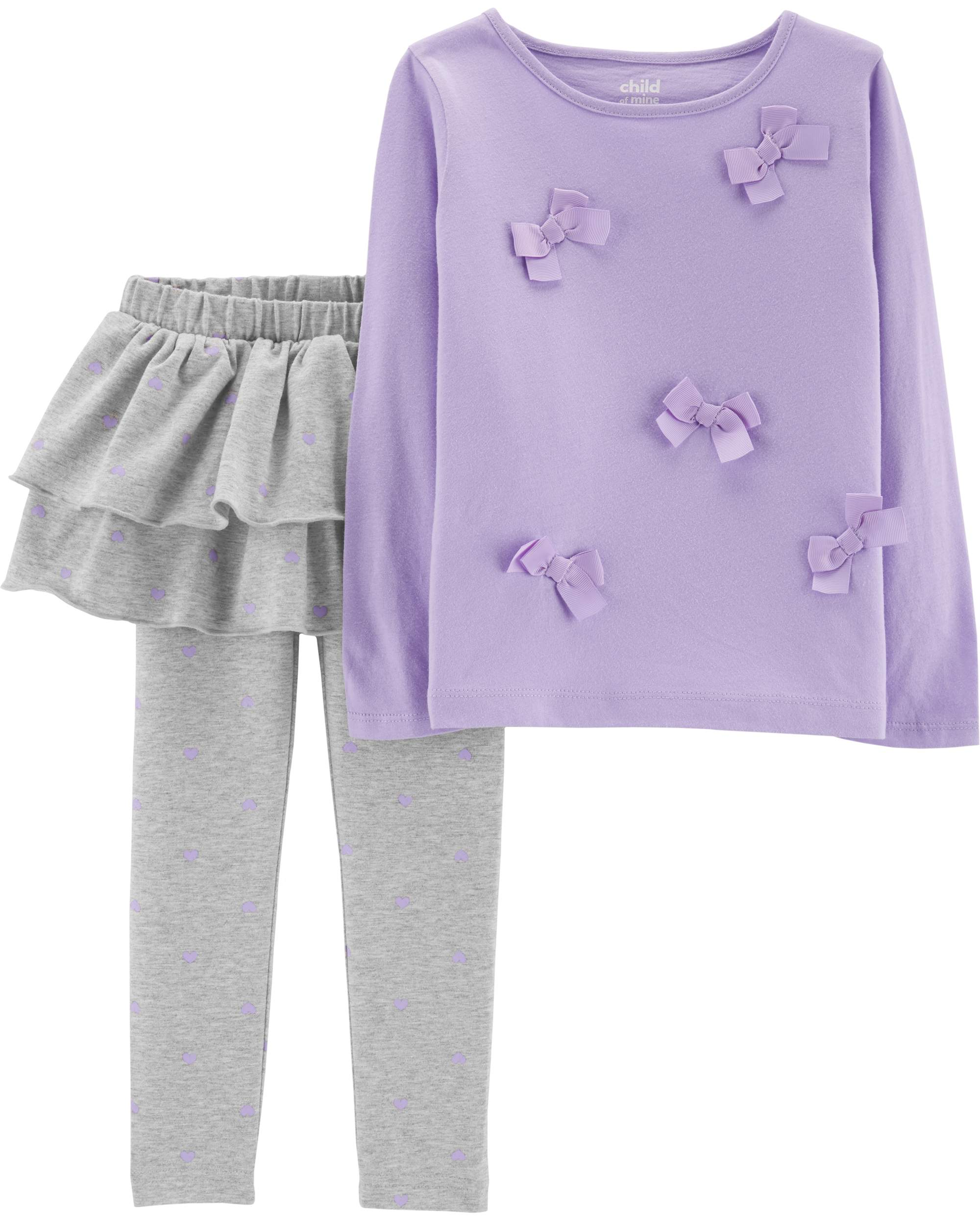 Long Sleeve Bow T-Shirt & Skeggings, 2-Piece Outfit Set (Toddler Girls)