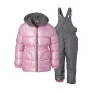 Pink Platinum Metallic Puffer Jacket Coat and Snow Bib, 2pc Snowsuit Set (Baby Girls & Toddler Girls)