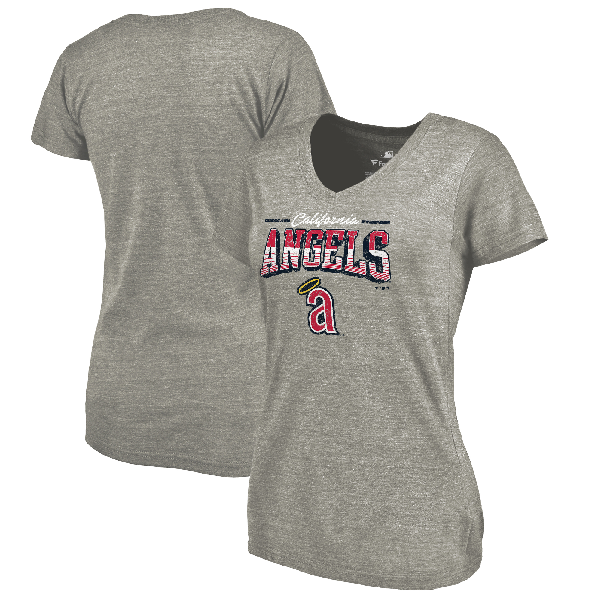 California Angels Fanatics Branded Women's Cooperstown Collection Season Ticket Tri-Blend V-Neck T-Shirt - Heathered Gray