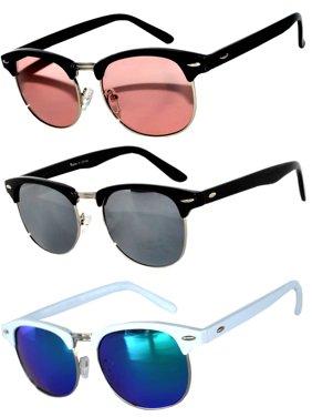 79b66917fa5 Product Image Half Frame Black Silver White Sunglasses Pink GRD Silver  Mirrored Blue Green Mirror Lens Fashion Retro. OWL