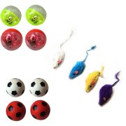 Iconic Pet Fur Mice, Plastic Ball and Bouncing Ball, Set of 3