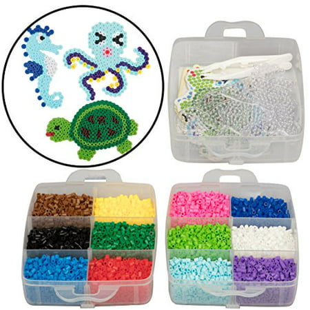 8,000pc Fuse Bead Super Kit w/ Sea Animal Pegboards and Templates - 12 colors, 6 Peg Boards, Tweezers, Ironing Paper, Case - Works with Perler Beads - Fused Beads